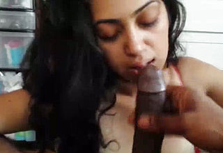 Voracious congenital first timer Indian Blowlerina keeps On Deepthroating shaft