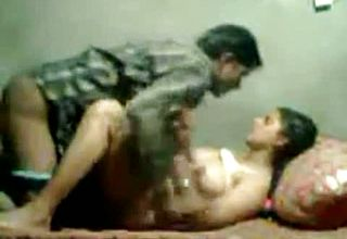 Obscene fledgling Desi Duo bangs In missionary stance In dirty Apartment