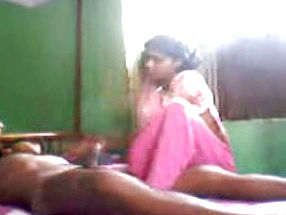 Horn-mad Indian black haired In Rosy sari provides Fellow with Blow job